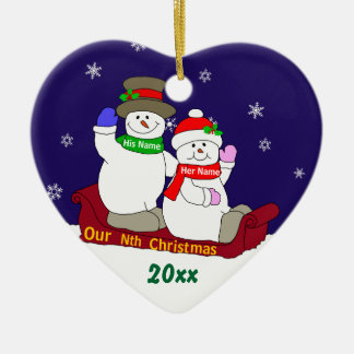 Our Nth Christmas Double-Sided Heart Ceramic Christmas Ornament