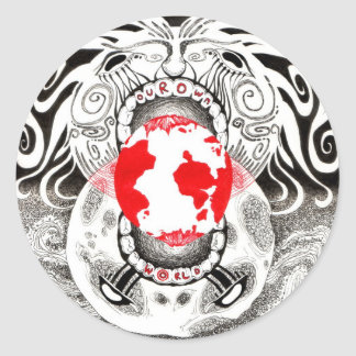 Our Own World Black and Red Tamsin Doherty Classic Round Sticker