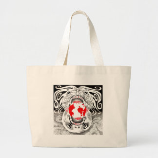Our Own World Black and Red Tamsin Doherty Large Tote Bag