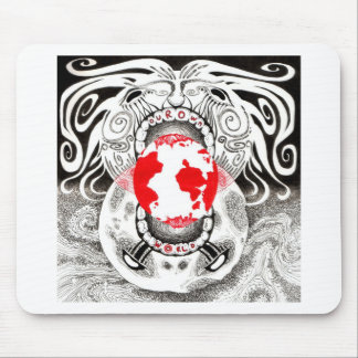 Our Own World Black and Red Tamsin Doherty Mousepads