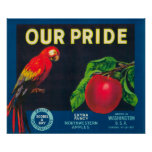 Our Pride Apple Label - Washington State Poster