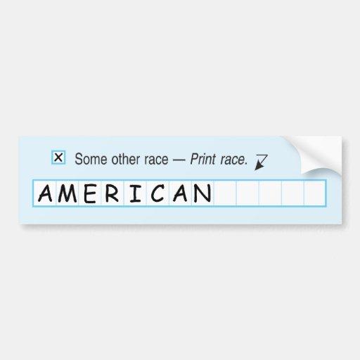 Our Race: American Car Bumper Sticker