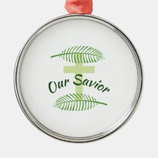 Our Savior Round Metal Christmas Ornament