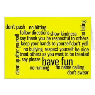 Our School Classroom Rules Card