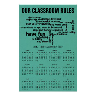 Our School Rules 2014 Calendar Poster