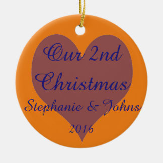 Our Second Christmas Together Blue Orange Heart Ceramic Ornament