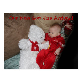 Our Son Has Arrived Boy Birth Announcement Postcard