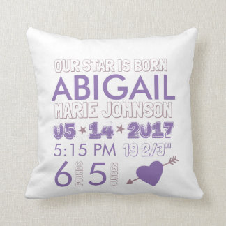 Our Star is Born Baby Girl Purple Birth Stats Throw Pillow