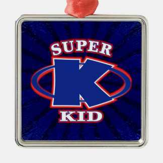 Our super kid logo features a powerful blue letter ornament