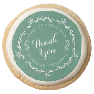 Our Sweet Beginning Wedding Favor Round Shortbread Cookie