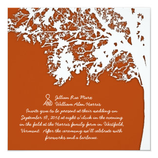 Our Tree, Fun Wedding Invitation, Burnt Orange Card