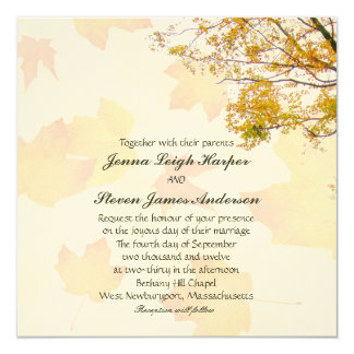 Our Tree in Fall Square Wedding Invitation