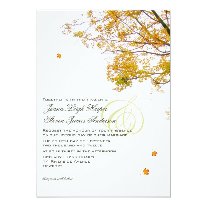 Our Tree in Fall Wedding Card