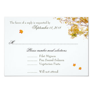 Our Tree in Fall Wedding Menu Reply Cards