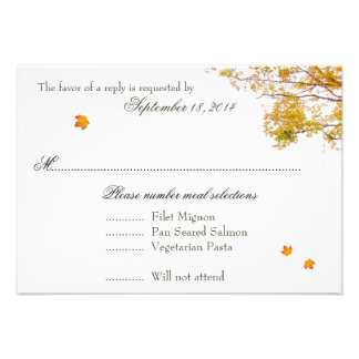 Our Tree in Fall Wedding Menu Reply Cards Personalized Invitation