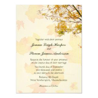 Our Tree, Leaf Background, Fall Wedding Invitation