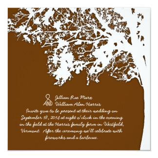 Our Tree, Rustic Country Wedding Invitation, Brown Card