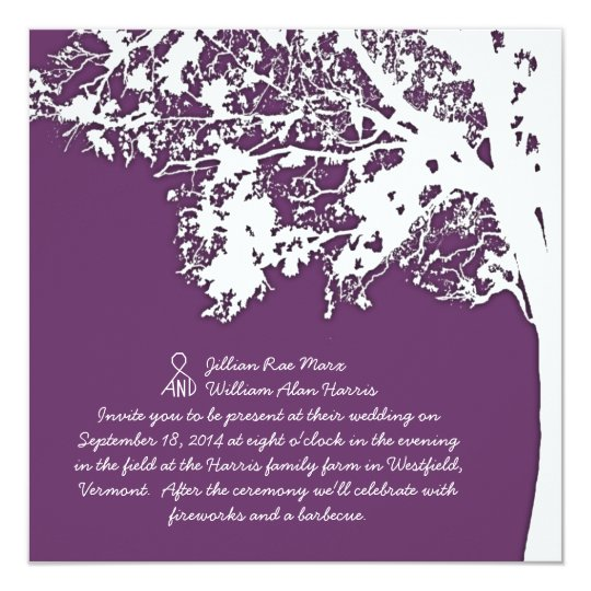 Our Tree Silhouette Purple Tree Wedding Invite