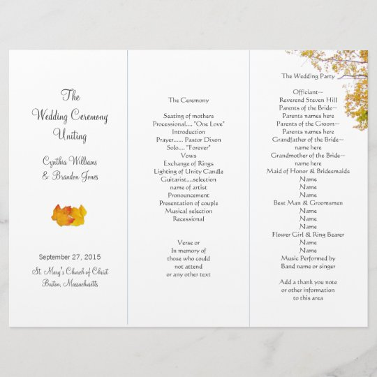 our tree tri fold wedding program template zazzle com