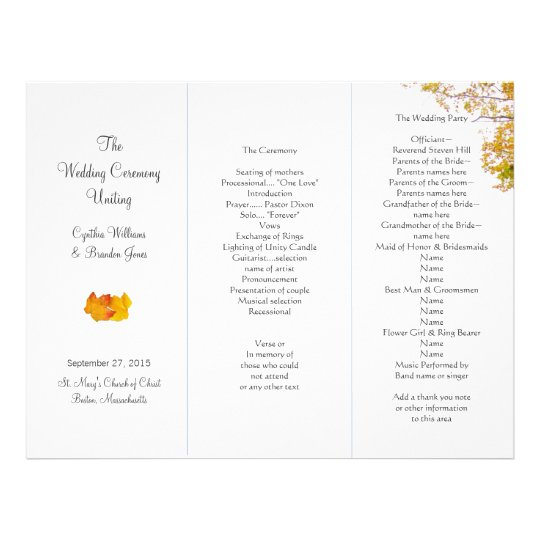 Our Tree Tri-Fold Wedding Program Template | Zazzle