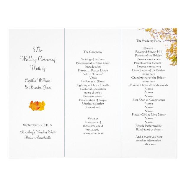 Our Tree Tri-Fold Wedding Program Template   Zazzle