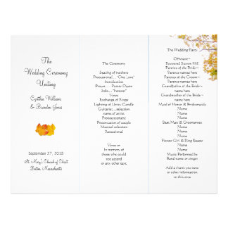 Our Tree Tri-Fold Wedding Program Template Letterhead Template