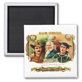 Our Union Vintage Cigar Box Label 2 Inch Square Magnet