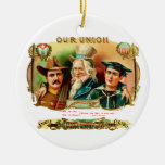 Our Union Vintage Cigar Box Label Double-Sided Ceramic Round Christmas Ornament