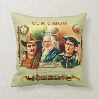 Our Union Vintage Cigar Box Label Throw Pillows