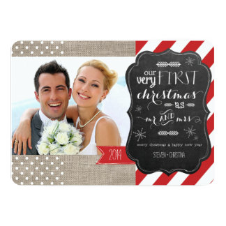 """Our Very First Christmas as Mr and Mrs Photo Card 5"""" X 7"""" Invitation Card"""