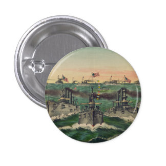 Our Victorious Fleets in Cuban Waters Currier Ives Pinback Buttons