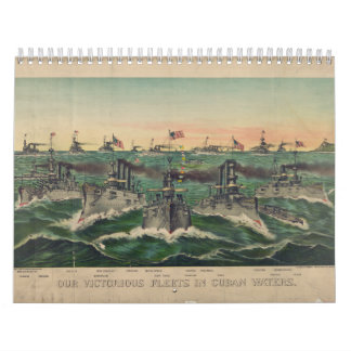 Our Victorious Fleets in Cuban Waters Currier Ives Calendar