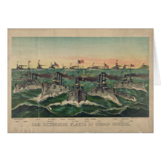 Our Victorious Fleets in Cuban Waters Currier Ives Card