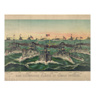 Our Victorious Fleets in Cuban Waters Currier Ives Custom Letterhead