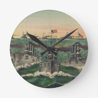 Our Victorious Fleets in Cuban Waters Currier Ives Round Clocks