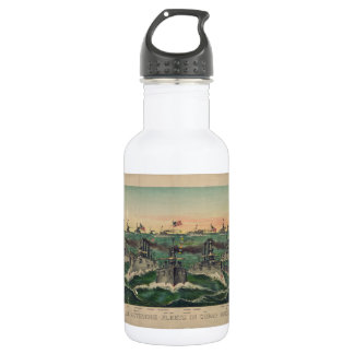 Our Victorious Fleets in Cuban Waters Currier Ives Stainless Steel Water Bottle