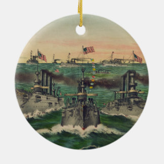 Our Victorious Fleets in Cuban Waters Ives Ceramic Ornament