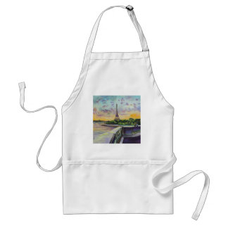 """""""Our view of Paris"""" Eiffel tower painting G Bruce Adult Apron"""