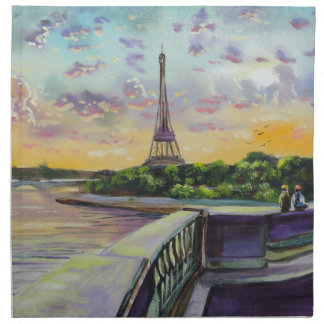 """""""Our view of Paris"""" Eiffel tower painting G Bruce Cloth Napkin"""