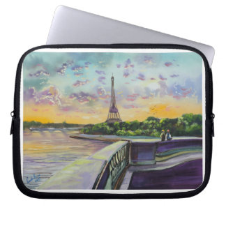 """Our view of Paris"" Eiffel tower painting G Bruce Computer Sleeve"