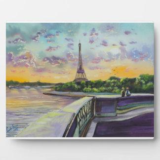 """Our view of Paris"" Eiffel tower painting G Bruce Plaque"