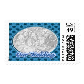 Our Wedding blue floral photo frame Postage Stamp