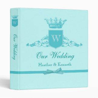 Our Wedding Crown Monogram Aqua Binder