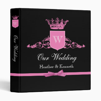 Our Wedding Crown Monogram Pink Binder