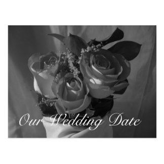 """""""Our Wedding Date"""" - Rose Bouquet in B&W Postcard"""