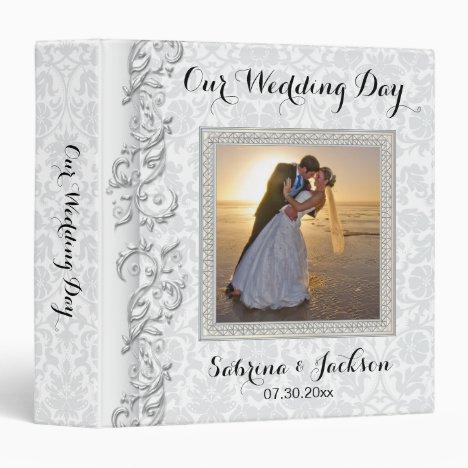 Our Wedding Day   Beautiful Damask 3 Ring Binder