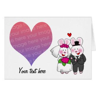 Our wedding day (cartoon rabbits) photo card