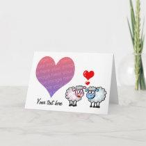 Our wedding day (cartoon sheeps) photo card