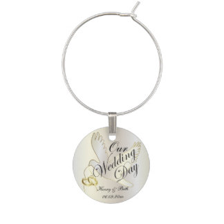 Our Wedding Day Dove | DIY Name & Date Wine Glass Charm