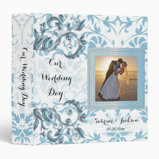 Our Wedding Day | Elegant Aqua Damask Binder